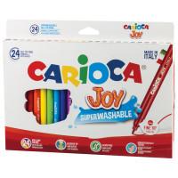 """CARIOCA 40615 Фломастеры CARIOCA (Италия) """"Joy"""", 24 цвета, суперсмываемые, вентилируемый колпачок, картонная коробка, 40615"""