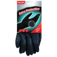"""PACLAN 407750 Перчатки хозяйственные неопреновые, хлопчатобумажное напыление, размер L (большой), черные, PACLAN """"Extra Protection"""", 407750"""