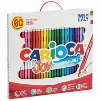 """CARIOCA 41015 Фломастеры CARIOCA (Италия) """"Joy"""", 60 шт., 30 цветов, суперсмываемые, картонная коробка с ручкой, 41015"""