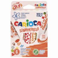 """CARIOCA 42279 Фломастеры-штампы двусторонние CARIOCA (Италия) """"Stamperello"""", 6 цветов, смываемые, 42279"""