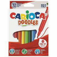 """CARIOCA 42314 Фломастеры CARIOCA (Италия) """"Doodles"""", 12 цветов, суперсмываемые, 42314"""