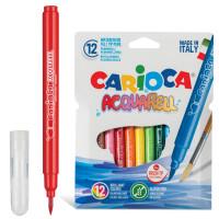 """CARIOCA 42747 Фломастеры акварельные CARIOCA (Италия) """"Aquarell"""", 12 цветов, наконечник-кисть, смываемые, картонный конверт, 42747"""