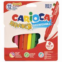 """CARIOCA 42755 Фломастеры утолщенные CARIOCA (Италия) """"Bravo"""", 12 цветов, суперсмываемые, 42755"""