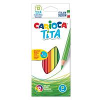 """CARIOCA 42793 Карандаши цветные CARIOCA """"Tita"""", 12 цветов, пластиковые, грифель 3 мм, шестигранные, европодвес, 42793"""