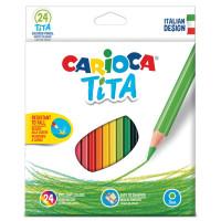 """CARIOCA 42794 Карандаши цветные CARIOCA """"Tita"""", 24 цвета, пластиковые, шестигранные, заточенные, европодвес, 42794"""