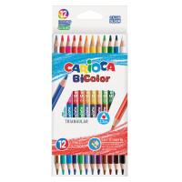 """CARIOCA 42991 Карандаши двусторонние CARIOCA """"Bi-color"""", 12 штук, 24 цвета, трехранные, заточенные, 42991"""