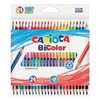 """CARIOCA 43031 Карандаши двусторонние CARIOCA """"Bi-color"""", 24 штуки, 48 цветов, трехранные, заточенные, 43031"""