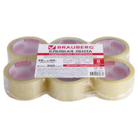Brauberg 440071 Клейкие ленты упаковочные, 48 мм х 60 м, КОМПЛЕКТ 6 шт., прозрачные, толщина 45 микрон, BRAUBERG, 440071