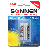 SONNEN 451087 Батарейки КОМПЛЕКТ 2 шт., SONNEN Alkaline, AAA (LR03, 24А), алкалиновые, мизинчиковые, блистер, 451087