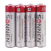 SONNEN 451098 Батарейки КОМПЛЕКТ 4 шт, SONNEN, AAA (R03, 24А), солевые, мизинчиковые, в пленке, 451098