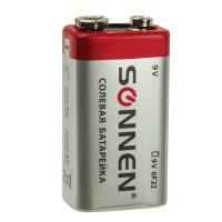 SONNEN 451101 Батарейка SONNEN, Крона (6R61, 6F22, 1604), солевая, 1 шт., в пленке, 451101
