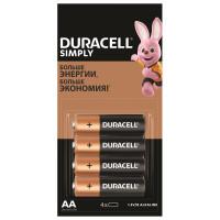 DURACELL 5009139 Батарейки КОМПЛЕКТ 4 шт. (отрывной блок), DURACELL Simply, AA (LR06, 15А), алкалиновые, пальчиковые, 5009139
