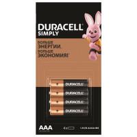DURACELL 5009140 Батарейки КОМПЛЕКТ 4 шт. (отрывной блок), DURACELL Simply, ААА (LR03, 24А), алкалиновые, мизинчиковые, 5009140