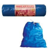 КОНЦЕПЦИЯ БЫТА 503 Мешки для мусора 60 л, завязки, синие, в рулоне 10 шт., ПВД, 30 мкм, 70х60 см, прочные, КОНЦЕПЦИЯ БЫТА VITALUX, 503