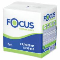 FOCUS 5053498 Салфетки бумажные 100 шт., 24x24 см, FOCUS Economic, белые, 100% целлюлоза, 5053498