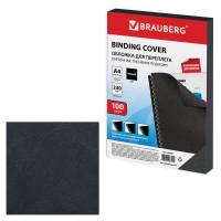 Brauberg 530837 Обложки картонные для переплета, А4, 5 листов, тиснение под кожу, 230 г/м2, черные, BRAUBERG, 530837