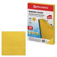 Brauberg 530950 Обложки картонные для переплета, А4, КОМПЛЕКТ 100 шт., тиснение под кожу, 230 г/м2, желтые, BRAUBERG, 530950