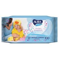 """AURA 5637 Салфетки влажные КОМПЛЕКТ 100 шт., для детей AURA """"Ultra comfort"""", универсальные, очищающие, гипоаллергенные, без спирта, 5637"""