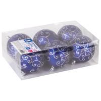 ЗОЛОТАЯ СКАЗКА 590892 Шары елочные ЗОЛОТАЯ СКАЗКА, НАБОР 6 шт., пластик, 8 см, с серебристым рисунком, цвет синий, 590892