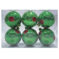ВЕСЕЛЫЙ ХОРОВОД 59586 Шары елочные, НАБОР 6 шт., пластик, диаметр 6 см, с рисунком, цвет зеленый (глянец), 59586