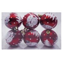 ВЕСЕЛЫЙ ХОРОВОД 59592 Шары елочные, НАБОР 6 шт., пластик, диаметр 6 см, с рисунком глиттером, цвет красный (матовый), 59592