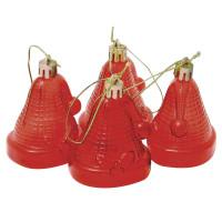 """ВЕСЕЛЫЙ ХОРОВОД 59596 Украшения елочные подвесные """"Колокольчики"""", НАБОР 4 шт., 6,5 см, пластик, полупрозрачные, красные, 59596"""