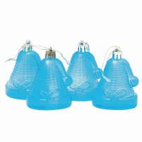 """ВЕСЕЛЫЙ ХОРОВОД 59598 Украшения елочные подвесные """"Колокольчики"""", НАБОР 4 шт., 6,5 см, пластик, полупрозрачные, голубые, 59598"""
