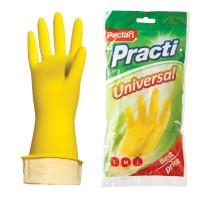 "PACLAN  Перчатки хозяйственные латексные, х/б напыление, размер L (большой), желтые, PACLAN ""Practi Universal"""