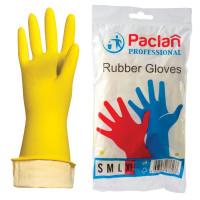 """PACLAN  Перчатки хозяйственные латексные, х/б напыление, размер XL (очень большой), желтые, PACLAN """"Professional"""""""