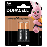 DURACELL  Батарейки КОМПЛЕКТ 2 шт., DURACELL Basic, AA (LR06, 15А), алкалиновые, пальчиковые, блистер