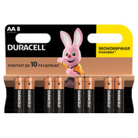 DURACELL  Батарейки КОМПЛЕКТ 8 шт., DURACELL Basic, AA (LR06, 15А), алкалиновые, пальчиковые, блистер