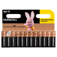 DURACELL  Батарейки КОМПЛЕКТ 12 шт., DURACELL Basic, AA (LR06, 15А), алкалиновые, пальчиковые, блистер