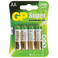 GP  Батарейки КОМПЛЕКТ 4 шт., GP Super, AA (LR06, 15А), алкалиновые, пальчиковые, блистер