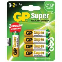 GP  Батарейки КОМПЛЕКТ 10 шт. (промо 8+2), GP Super, AA (LR06,15А), алкалиновые, пальчиковые, блистер, 15A8/2-CR10