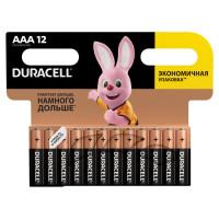 DURACELL  Батарейки КОМПЛЕКТ 12 шт, DURACELL Basic, AAA (LR03, 24А), алкалиновые, мизинчиковые, блистер
