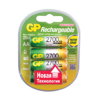GP  Батарейки аккумуляторные GP, АА, Ni-Mh, 2700 mAh, комплект 4 шт., в блистере