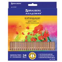 """Brauberg  Карандаши цветные BRAUBERG """"ЦВЕТЫ"""", 24 цвета, трехгранные заточенные, лакированное дерево, 181368"""