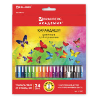 """Brauberg  Карандаши цветные BRAUBERG """"БАБОЧКИ"""", 24 цвета, трехгранные заточенные, корпус с полосками"""