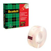 """SCOTCH (3M) 600RUS Клейкая лента канцелярская 19 мм х 33 м, прозрачная, картонная коробка, 50 мкм, SCOTCH """"Crystal"""", 600RUS"""