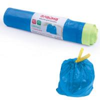 ЛАЙМА 601397 Мешки для мусора 60 л, завязки, синие, в рулоне 20 шт., ПНД, 12 мкм, 55х62 см (±5%), прочные, ЛАЙМА, 601397