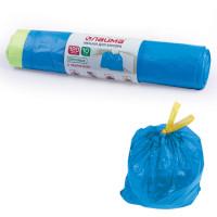 ЛАЙМА 601399 Мешки для мусора 120 л, завязки, синие, в рулоне 10 шт., ПВД, 35 мкм, 67х90 см (±5%), прочные, ЛАЙМА, 601399