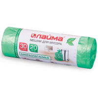 ЛАЙМА 601400 Мешки для мусора 30 л, БИОРАЗЛАГАЕМЫЕ, зеленые, в рулоне 20 шт., ПНД, 10 мкм, 50х60 см (±5%), прочные, ЛАЙМА, 601400