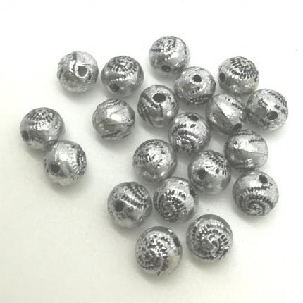 Бусы полимерные 9.5х9.5 мм, 20 шт/упак, античное серебро