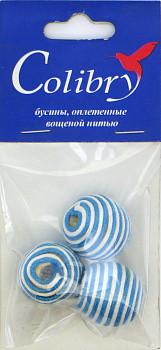 Бусины оплетеные вощеной нитью (бело-голубые)