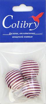 Бусины оплетеные вощеной нитью (бело-красные)
