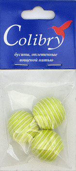 Бусины оплетеные вощеной нитью (бело-лаймовые)