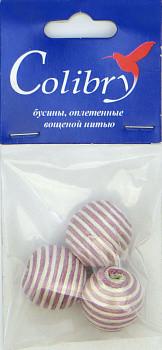 Бусины оплетеные вощеной нитью (бело-розовые)