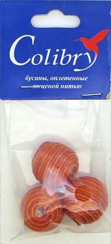 Бусины оплетеные вощеной нитью (красно-оранжевые)
