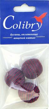 Бусины оплетеные вощеной нитью (красно-фиолетовые)