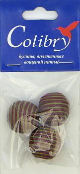 Бусины оплетеные вощеной нитью (оливково-бордовые)